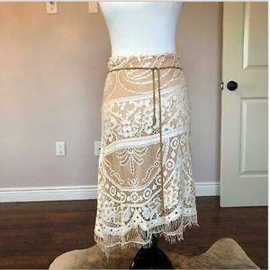 EUC Dolce & Gabbana Boho Cream Lace Skirt SZ 10